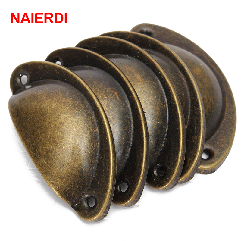 NAIERDI 20PCS Retro Metal Kitchen Drawer Cabinet Door Handle Furniture Knobs Handware Cupboard Antique Brass Shell Pull Handles 100pcs metal kitchen drawer cabinet door handle furniture knobs hardware cupboard shell pull handles
