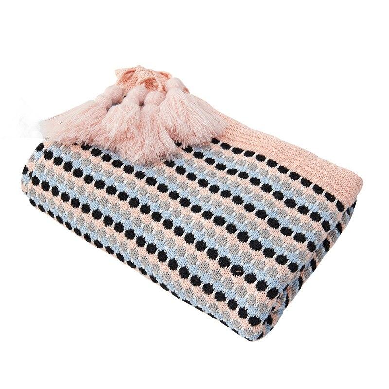 100% coton tricoté couverture jeter adapté pour lit ou canapé couverture décorative avec gland 130X170 CM