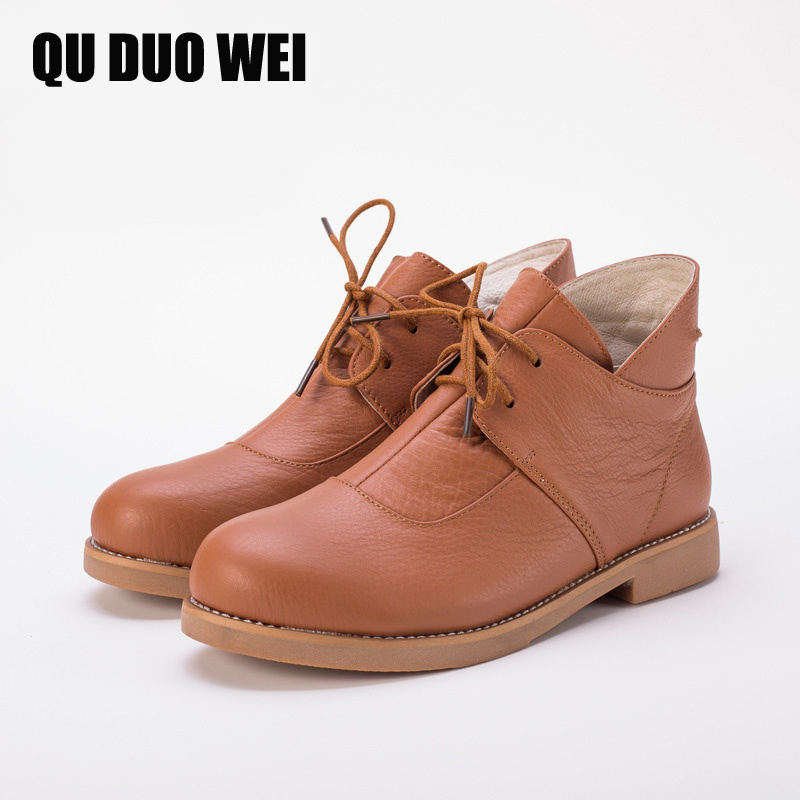 QUDUOWEI Women Ankle Boots Hand-made Genuine Leather Woman Martin Boots Spring Autumn Square Toe lace up Shoes Female Footwear brown men ankle boots spring autumn genuine leather cowboy boots pointed toe lace up mens military boots safety shoes footwear