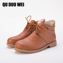 Quduowei женские ботильоны ручной работы Пояса из натуральной кожи женские ботинки Martin Демисезонный квадратный носок на шнуровке Обувь женская обувь