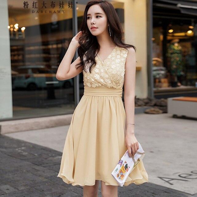 original new brand robe femme ete 2018 short high waisted sweet beige camel sequine appliques tank dress women wholesale