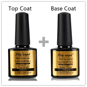 Lily angel 2pcs/lot No Wipe Top Coat + Base Coat Gel Nail Polish UV/LED Manicure Long-lastting up to 30 Days Resin Material
