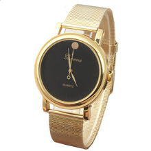 snowshine #10xin    New Lady Style Gold Classic Womens Quartz Stainless Steel Wrist Watch  free shipping