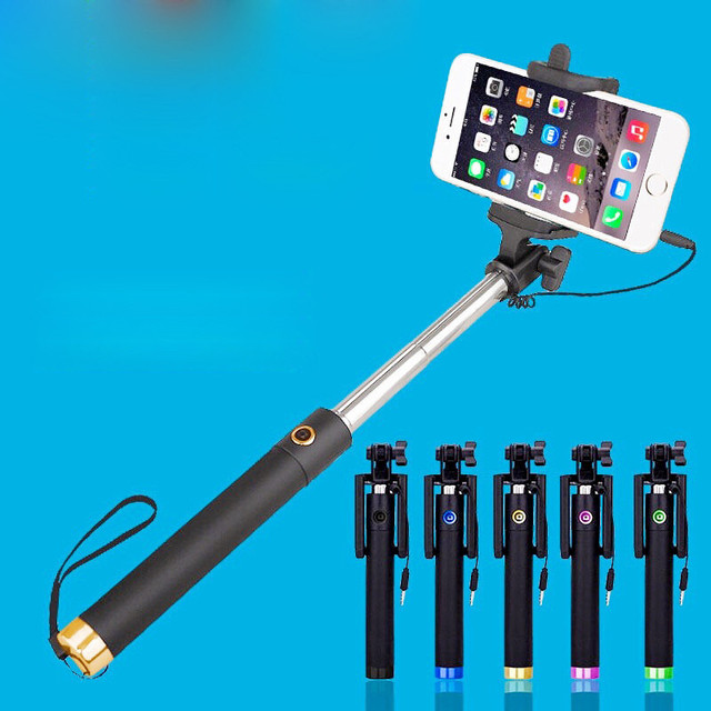 Extendable Selfie Stick Mini-wire-controlled Folding Far-point Mobile Phone Self-timer Portable Plug-Play