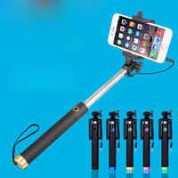 Extensible Selfie Stick Mini-Control de alambre plegable de punto lejano teléfono móvil auto-temporizador enchufe portátil- jugar