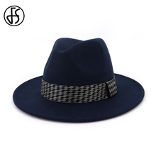 FS Autumn Winter Wool Felt Fedoras Hats For Men Men Jazz Hat Trilby Wide Brim Ch