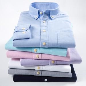 Image 5 - Erkek çizgili % 100% pamuk Oxford uzun kollu elbise gömlek göğüs cebi ile standart fit akıllı Casual düğme aşağı gömlek