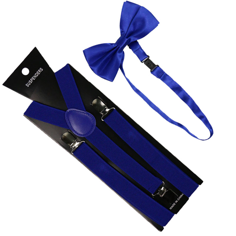 High Quality 2.5cm Wide Royal Blue Womens Men Suspenders Bow Tie Set Solid Elastic Suspenders And Bowtie Shirt Braces
