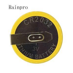 Image 2 - Rainpro 5 قطعة/الوحدة CR2032 2032 مع لحام القدم 210mAh 3 فولت بطارية ليثيوم أيون زر خلية