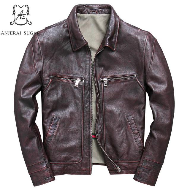 Plus Size genuine cow leather jacket men Vintage reddish brown casual zipper pocket Motorcycle clothing real leather men's coat