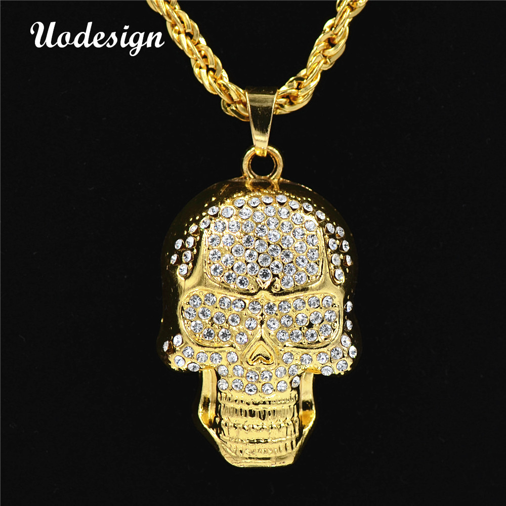Uodesign bling gold color skull pendants necklaces men women hip hop uodesign bling gold color skull pendants necklaces men women hip hop crystal skull head jewelry gifts chains in pendant necklaces from jewelry accessories mozeypictures Images