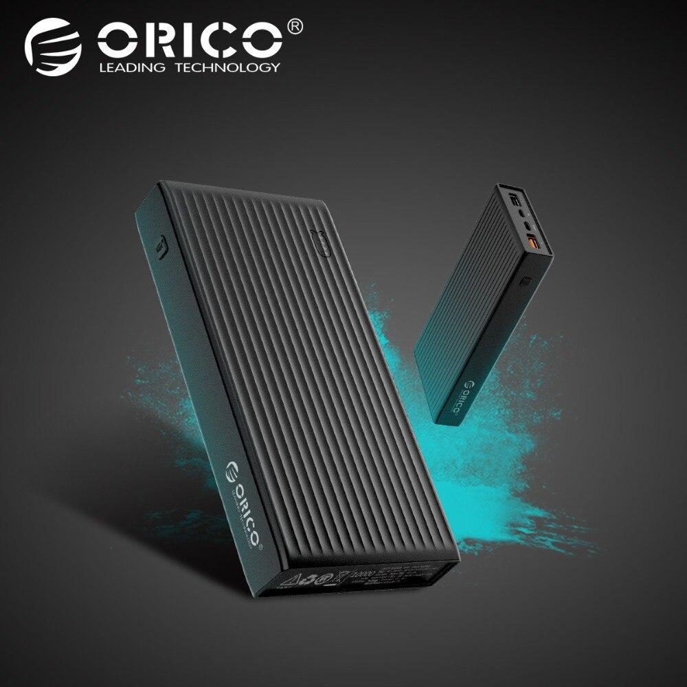 ORICO QC3.0 Banco 20000 mAh BC1.2 tipo C de dos vías cargador rápido 18 W salida máxima externa batería para Samsung Xiaomi Huawei