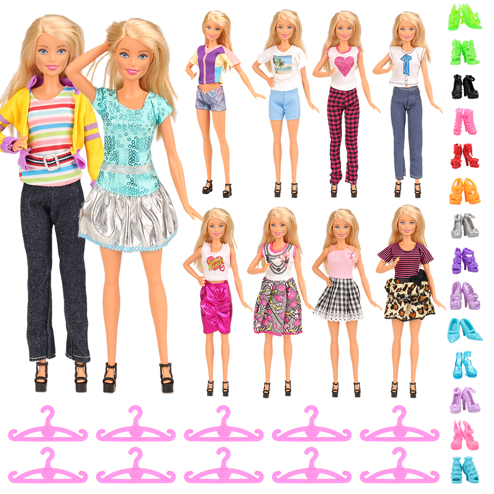 Newest High Quantity Handmade 30 Items/Set5 X Dress Clothes +10 Hangers+10 Shoes 1/6 Accessories For Barbie Doll Birthday Gift