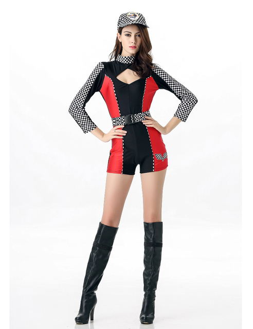 MOONIGHT M L XL Sexy Miss Super Car Racer Racing Costume Driver Grid Girl Prix Fancy Costume Jumpsuits+Hat+Belt 3
