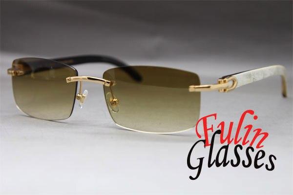 496a38c798934 White Mix Black Buffalo Genuine horn Rimless Sunglasses Exquisite Glasses  Size 56-18-140