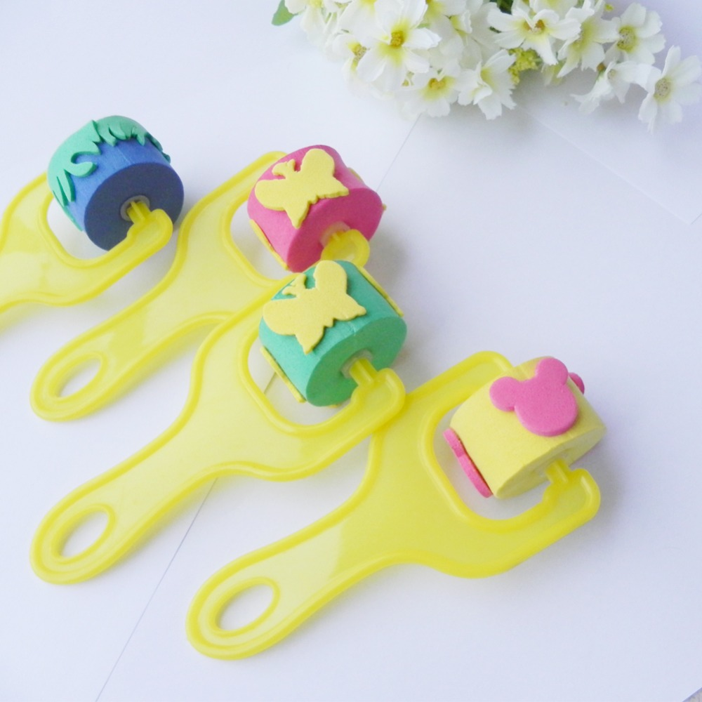 4pcs EVA Flower Star House Rolling Seal Stamp Preschool Learning Educational Toys Gift Children Kids DIY  Painting Drawing Tool