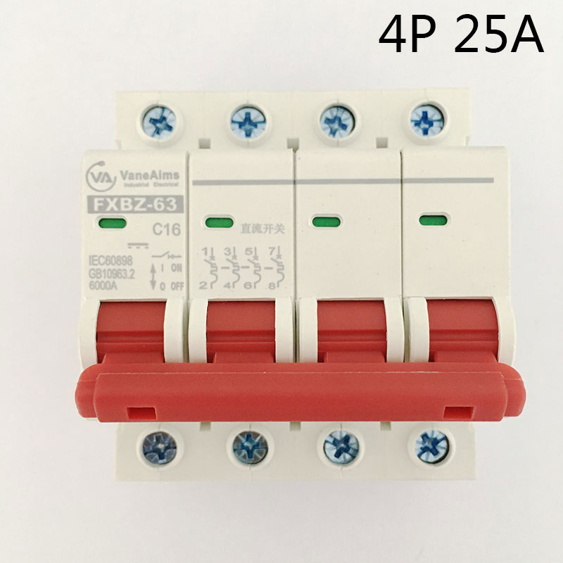 FXBZ-63 4P 25A DC 500V Circuit breaker MCB 1 Poles C63 Solor dc circuit breakers for Solar system protection eaton cutler hammer westinghouse ehd2090 c h circuit breakers