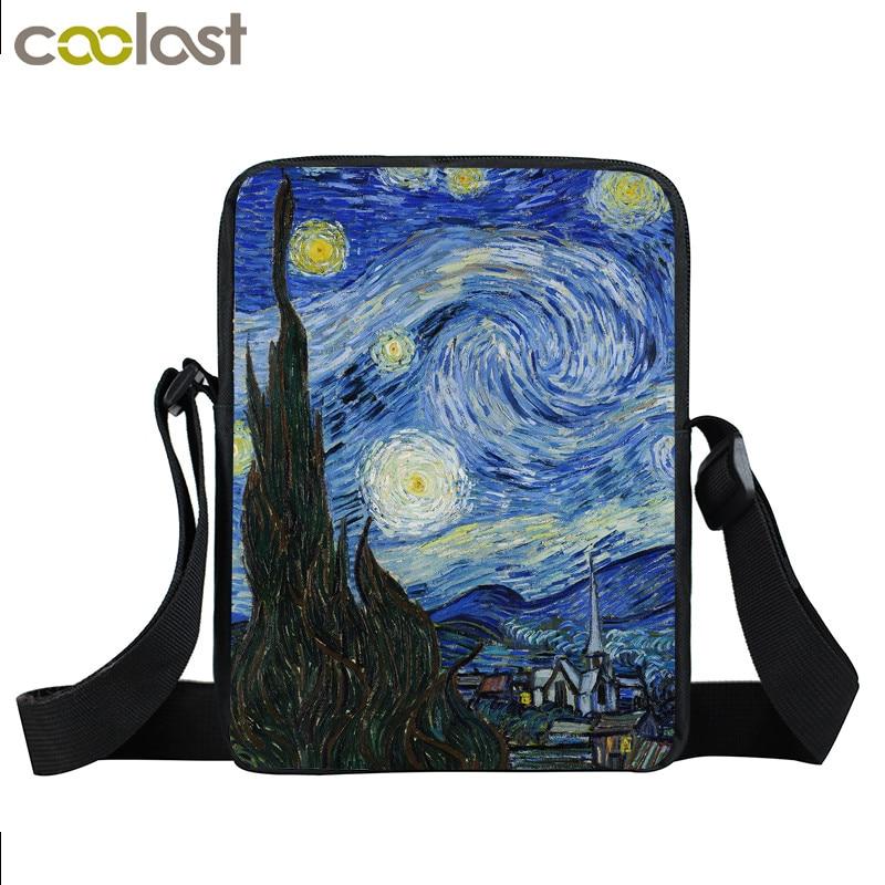 Herrentaschen Van Gogh Sternennacht Frauen Handtasche Aliens Mini Messenger Bags Bolsos Mujer Umhängetaschen Für Mädchen Jungen Beste Geschenk Schule Tasche üPpiges Design Gepäck & Taschen