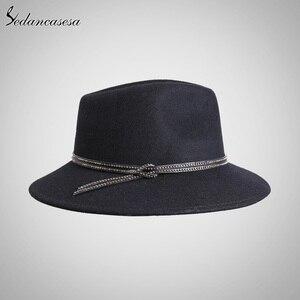 Image 4 - Sombrero Fedora para mujer, de lana, de alta calidad, de Australia, sombreros de fieltro para mujer, Otoño Invierno, mantiene el calor, sombrero Fedora de ala ancha, FM087004
