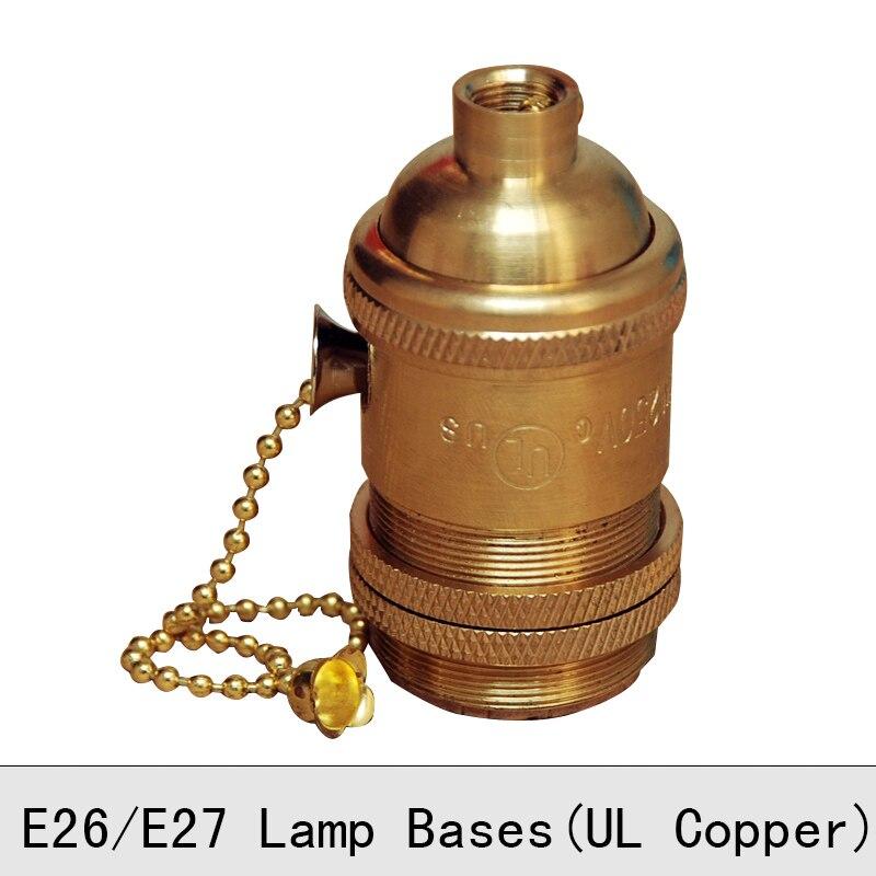 Messing Lampe Basis E27 E26 Vintage Retro Edison Lampe Basis Halter kupfer Anhänger Licht Schraube Buchse mit knob schalter oder pull kette