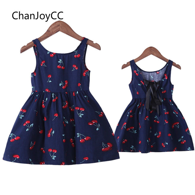 ChanJoyCC Family Matching Outfits Dress 2017New Mom and Daughter Cotton Leisure Dress With Print Fashion Pattern Kid Girls Dress