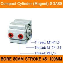 SDA80 Магнит Цилиндра Компактный ПДД Серии Диаметр 80 мм Ход 45-100 мм Компактный Цилиндры Воздуха Двойного Действия Воздуха пневматические Цилиндры ISO