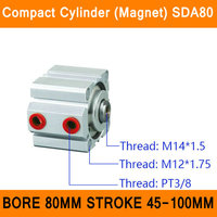 SDA80 Cylinder Magnet Compact SDA Series Bore 80mm Stroke 45 100mm Compact Air Cylinders Dual Action Air Pneumatic Cylinders ISO