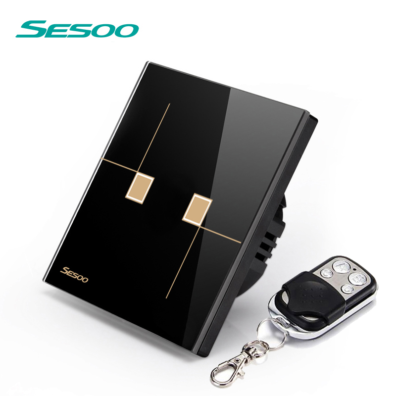 SESOO EU/UK Standard Remote Control Switches 2 Gang 1 Way,Crystal Glass Switch Panel,Remote Wall Touch Switch eu uk standard sesoo remote control switch 3 gang 1 way crystal glass switch panel wall light touch switch led blue indicator