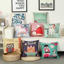 Cartoon Animal Cushion Covers Bear Cat Dog Bird Pillowcase 45*45CM Baby Children Room Kindergarten Decorative Pillow