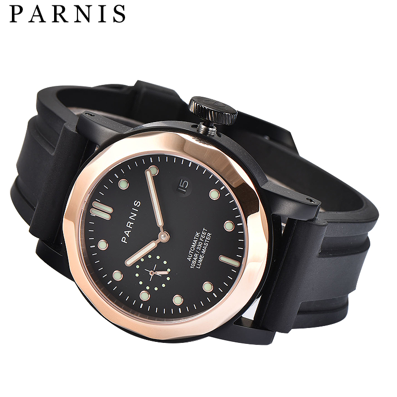 Casual 43mm Parnis Men Mechanical Watches SeaGull Rose Gold Mens Top Brand Luxury Automatic Watch Men Luminous Auto Wristwatch top brand luxury mens mechanical watches parnis 41mm full stainless steel automatic watch men rotating bezel luminous wristwatch
