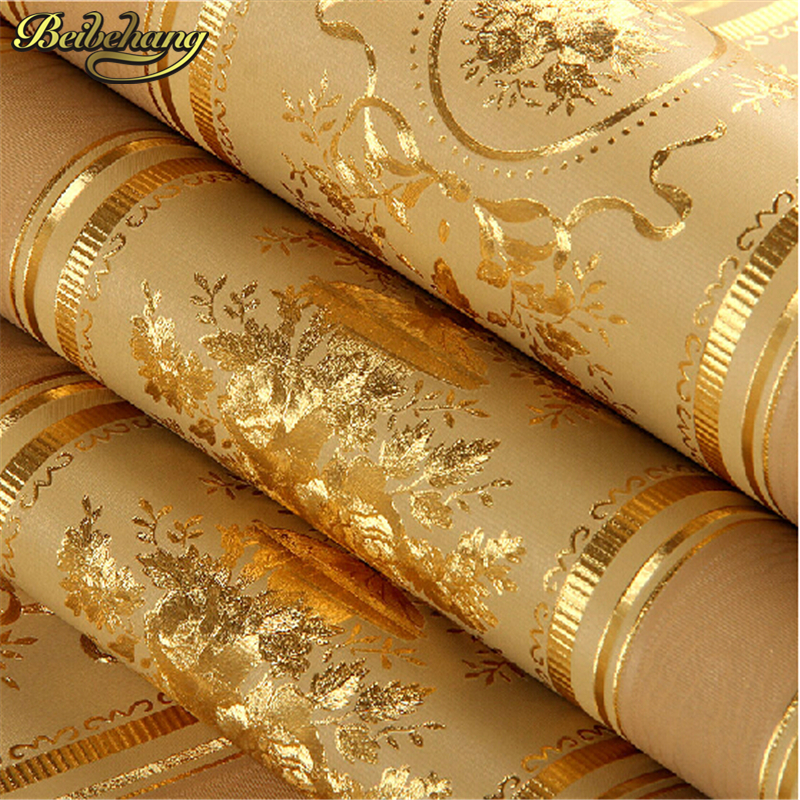 beibehang Luxury Gold Foil Wallpaper Floral beibehang Striped Wallpaper Roll Wall Paper Waterproof Papel De Parede beibehang gold foil wallpaper roll silver of wall paper luminous wedding decoration papel de parede 3d wallpaper for walls