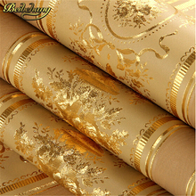 European Luxury Gold Foil Wallpaper 3D Floral Striped Wallpaper Roll Living Room TV Wall Paper Waterproof Papel De Parede Roll