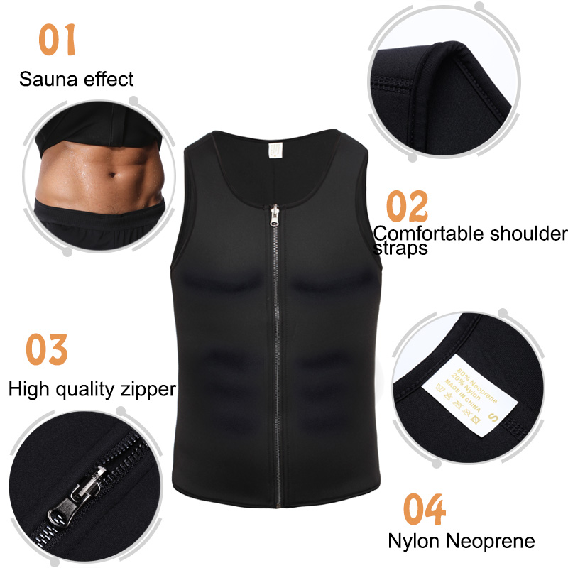 Miss Moly Mens Zipper Neoprene Waist Training shaper Tops Slimming Vest Shapewear Control Shapewear Trainer Girdle Belt Trimmer in Shapers from Underwear Sleepwears