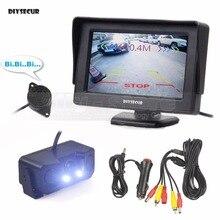 DIYSECUR 4,3 дюймов Цвет TFT ЖК-дисплей автомобиля монитор + Водонепроницаемый парковочный радар видео парковка Сенсор автомобиля Камера парковка Системы комплект