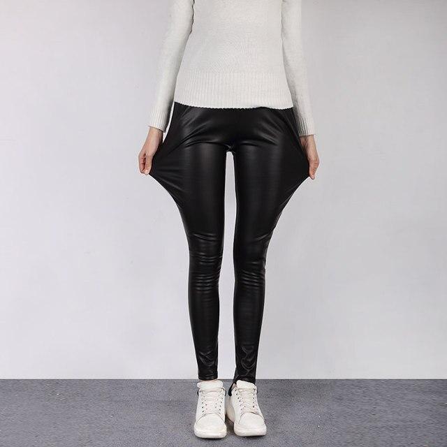 Maternity pants Faux Leather Pants Joe abdominal pants  Black Capris Ladies Legging Spring Autumn Winter Pants