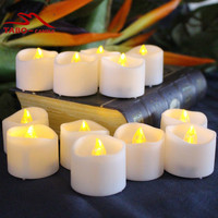 12 Flameless Votive Candles Battery Operated LED Tea Lights Flickering Amber Tealight Candles