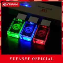 YUFANYF 2017 pendrive 3 colors Red / blue / green LED BMW car LOGO USB falsh drive 4GB 8GB 16GB 32GB U Disk crystal gift