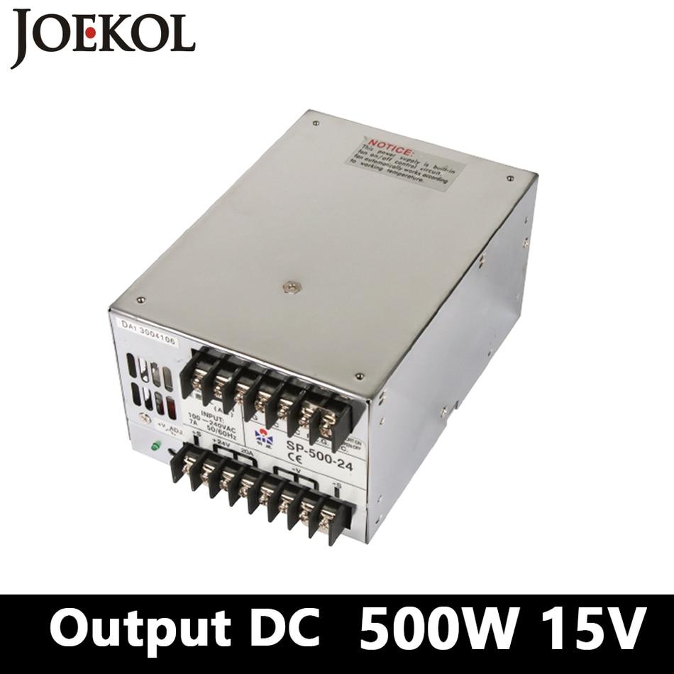 PFC switching power supply 500W 15v 33A,Single Output ac dc power supply for Led Strip,AC110V/220V Transformer to DC15 1200w 48v adjustable 220v input single output switching power supply for led strip light ac to dc