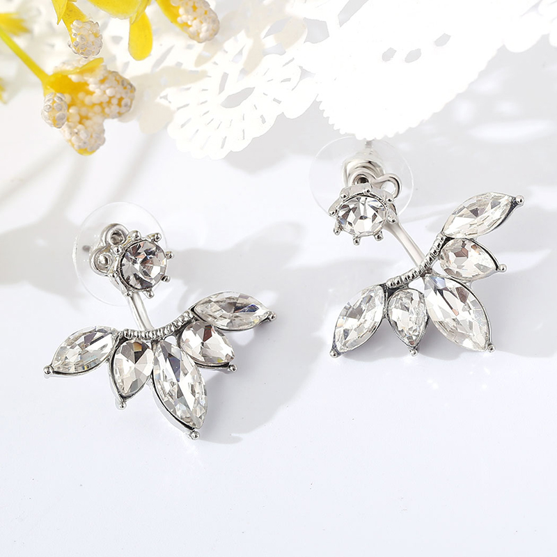 2016 Crystal Jewelry Ear Jacket Cute font b Earrings b font for Women Jewelry Double Sided