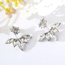 2016 Crystal Jewelry Ear Jacket Cute Earrings for Women Jewelry Double Sided Leaf Ear Women Earring Boucle d'Oreille