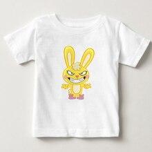 Cuddles yellow little bunny Happy Tree Friends printing summer t shirt 2-15Y children T shirt boy and girl Tshirt short sleeves t shirt bunny white