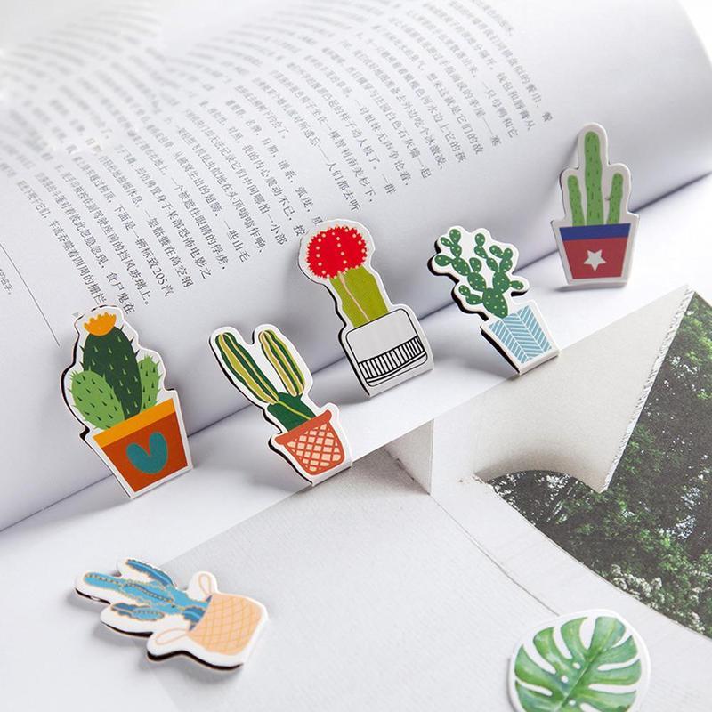 CoöPeratieve 2 Pcs Pick Up Magnetische Bladwijzers Cactus Serie Dubbelzijdig Kleur Patroon Metalen Gift Mini Boek Map School Kantoor Levert En Digestion Helping