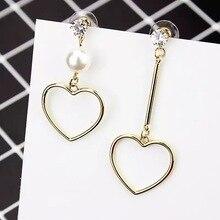 Cute Wild Heart Earrings For Women Simple Asymmetric Rhinestone Simulated Pearl Dangle Earrings Female Fashion Jewelry Gift стоимость