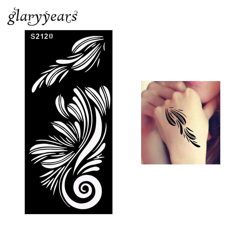 Bh1704 1 Piece Black Henna Cuff Tattoo With Flower Wrist: 1 Piece Hollow Henna Tattoo Stencil Black Color Flower