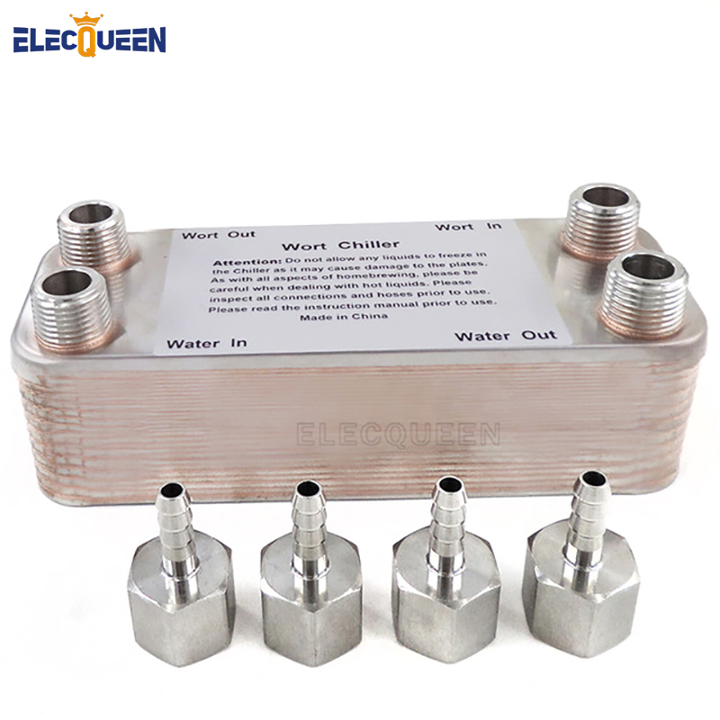 20 Plates Brewing Chiller Stainless Plate Heat Exchanger Home Brewing Wort Chiller With 4pcs Hose Barb