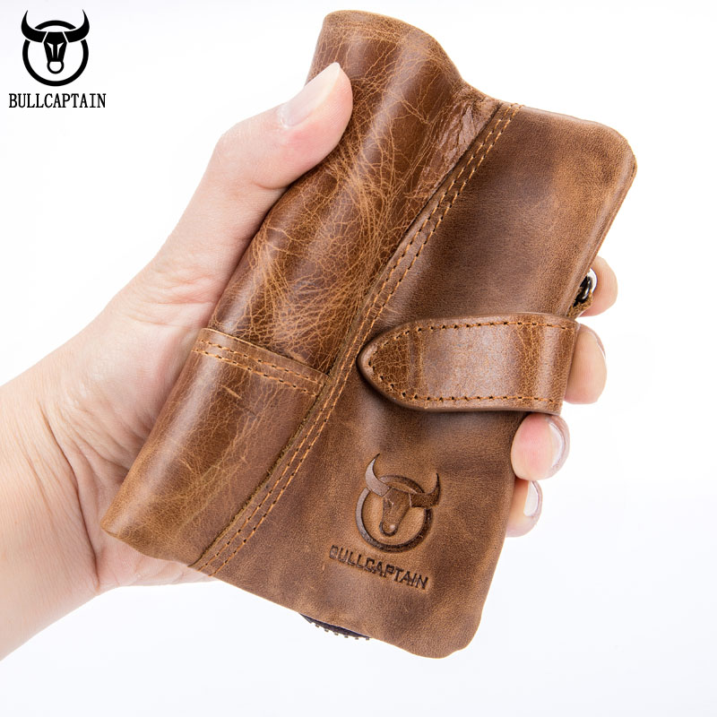 Genuine Leather Men Short Wallets Credit Card Holder Business Purse Zipper Cowhide Coin Purse Slim Vertical Hasp Wallet Gifts