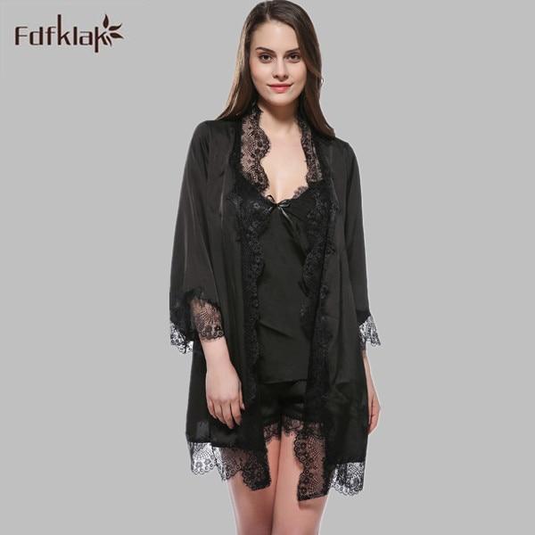 M-XXL Plus Size Suits For Women Summer Long Silk Robe High Quality Long Nightgown Robe Set Sleepwear Vintage Womens Nights E1145