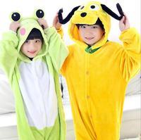 Winter Warm Long Sleeve Pajama Set Red Kids Cartoon Dog And Frog Cosplay Animal Boys Girls