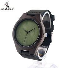 BOBO BIRD F04 Men's Quartz Nature Wooden Watch Ebony Luxury Watches Leather Band Wirstwatch As Gift Accepting Customization
