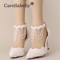 2018 Rhinestone Pointed Toe Shoes Women High Heels Flower Lace Ankle Strap Sandals Fashion Pearl Decoration Party Wedding Shoes